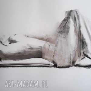 woman 100x70, duża grafika kobieta, duży obraz rysunek węglem akt, akt