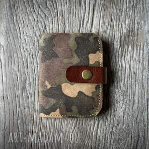 portfele skórzany portfel z oryginalnym wzorem moro od ladybuq art