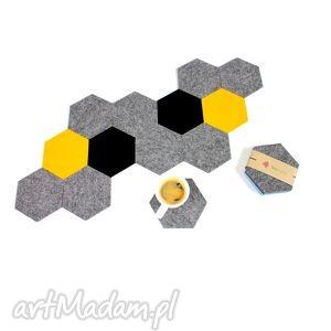 podkładka filcowa pod kubek heksagon 6 szt, filc, podkładka, filcowa, podkładki