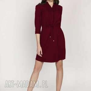 lanti urban fashion sukienka ze szczypankami, suk149, bordo, midi, sznureczek