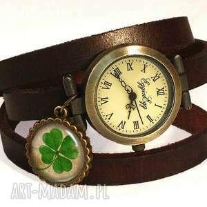 egginegg koniczynka na szczęście - zegarek/bransoletka skórzanym pasku, zegarek