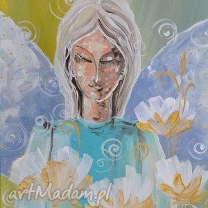 Anioł w kwiatach marina czajkowska anioł, czajkowska, obraz