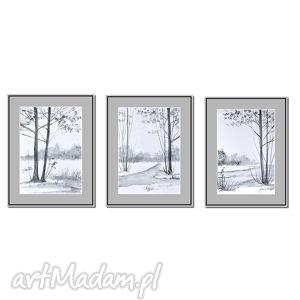 Pejzaż w czerni i bieli, akwarele, akwarela, obraz, ręcznie, malowane
