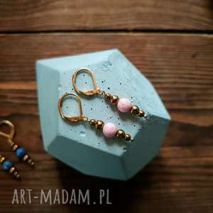 whw taste earrings pink marble, kolczyki, kolczyk, kamienie, delikatne, hematyt