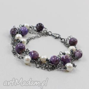 perły i czaroit w oksydowanym srebrze - bransoletka, perły, czaroit, srebro