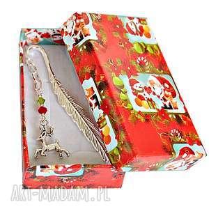 prezent na święta Zakładka z reniferem w pudełeczku, zakładka, książki,