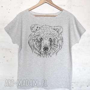 NIEDŹWIEDŹ koszulka bawełniana szara z nadrukiem S/M, bluzka, koszulka,
