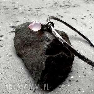 bransoleta- srebro i chalcedon różany, urocza, codzienna, srebrna, z-zawieszką