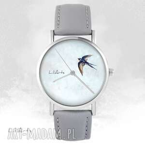 ręczne wykonanie zegarki zegarek - jaskółka szary, skórzany
