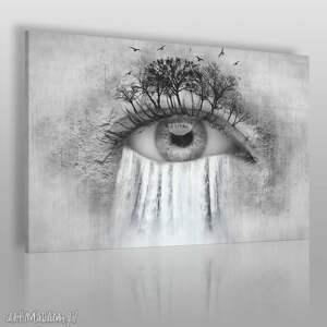 obrazy obraz na płótnie - oko wodospad 120x80 cm 25601 , oko, wodospad, drzewa