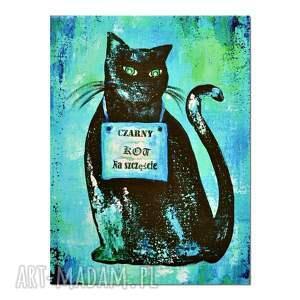 czarny kot na szczęście, reprodukcja obrazu, obraz, reprodukcja