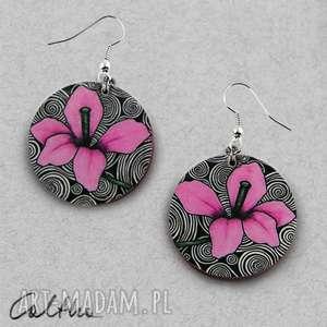Różowe kwiaty - kolczyki, klipsy, wiszące, kwiaty, kwiat, koła