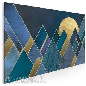 obraz na płótnie - trójkąty noc granat złoto 120x80 cm 65101, trójkąty