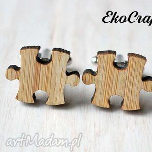 handmade męska drewniane spinki do mankietów puzzle