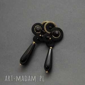 czarno-złote klipsy sutasz, sznurek klipsy