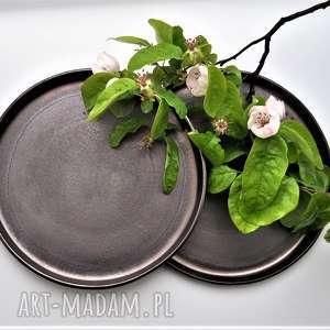 ręczne wykonanie ceramika talerze ceramiczne złotobrązowe - zestaw 2 szt