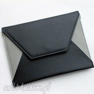 kopertówka - czarna i boki szare - elegancka, nowoczesna, prezent, wizytowa, wesele