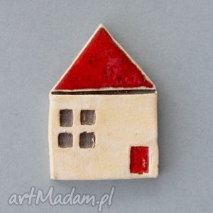 domek-broszka ceramiczna - minimalizm, prezent, praca, luz, urodziny, sweter