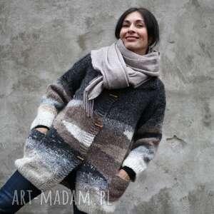 Sweter wełniany brąz beż szary swetry kozaczka unikat, dla niej