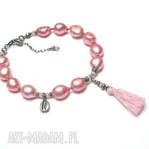 handmade poziomkowa /pearls/ -bransoletka - bransoletka