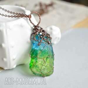 Niebiesko zielone ombre - naszyjnik z kryształem na łańcuszku