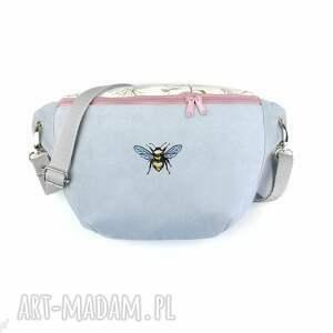 nerka xxl pszczółka - ,nerka,haft,pszczoła,pastelowa,torebka,saszetka,
