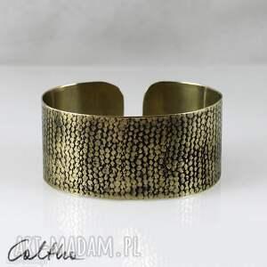 *Siatka - mosiężna bransoletka, bransoleta, szeroka, złota, metalowa