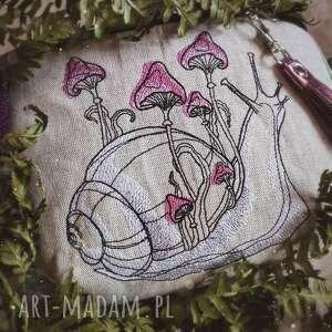 zapetlona nitka nerka xxl ślimak z grzybkami, las góry, magiczna, torebka