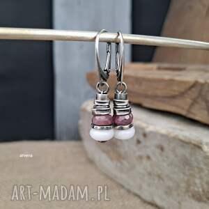 opal, rubin - kolczyki, rubin, modne biżuteria arvena, srebro