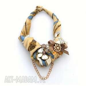 MOŻE BEŻOWE? naszyjnik handmade, naszyjnik, kolia, beżowy, nude, złoty, kolorowy