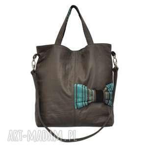 na ramię 22-0001 brązowa ekskluzywna torebka damska z kokardą jay one, duże