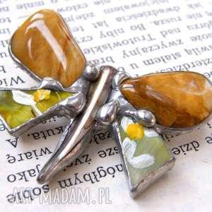 broszka: motyl malowany z jaspisem, broszka jaspis, motyl, z kamieni