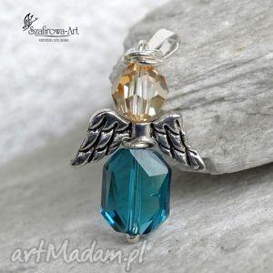 wisiorki anioł swarovski - wisior, anioł, swarovski, srebro, prezent