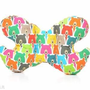 poduszka podróżna motylek motyl kolorowe misie / pomarańcz, poduszka