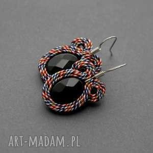 kolorowe kolczyki sutasz z onyksami, sznurek, eleganckie, wiszące, kolorowe, wesołe