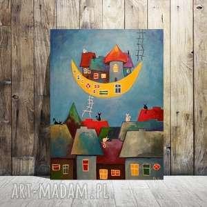 bajkowe miasteczko- obraz akrylowy formatu 30/40cm, miasteczko, księżyc, obraz, koty