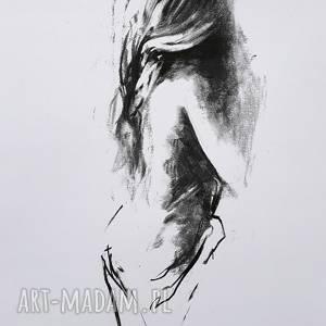 she, grafika kobieta, zmysłowy obraz, czarno biała grafika, obrazek kobieta