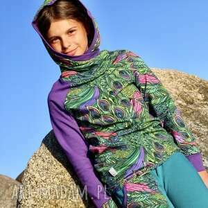 bluza dla dziewczynki 146-158 cm - pawie pióra, z kapturem, kolorowa