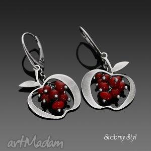 czerwone jabłuszko srebrny styl - kiść, jabłuszka, oksydowane