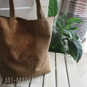 Camelowa torebka na ramię juti bags shopper bag, do pracy