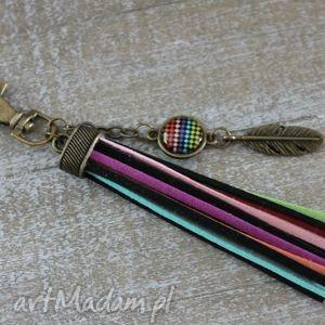 beebee kolorowy długi boho brelok, kolorowy, boho, długi, piórko, chwost