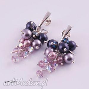 kolczyki grona violet - biżuteria, swarovski, fioletowe, srebrne