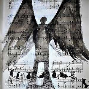 praca akwarelą i piórkiem anioł stróż kotów na papierze