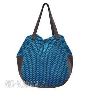 ręcznie zrobione na ramię 24-0011 niebieska torebka damska worek / torba na studia swallow