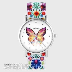 zegarki zegarek - motyl folk biały, nato, zegarek, bransoletka, motyl, folkowy