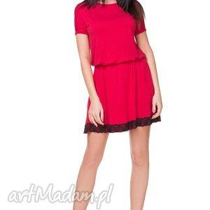 Sukienka z dekoltem na plecach T171, czerwona, sukienka, dekolt, na,