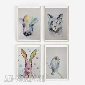 cztery akwarele-zwierzęta, akwarela, krowa, zając, zwierzęta, kot, ptaszek