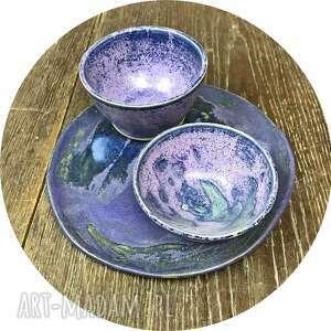 ceramiczny komplet talerzyk i dwie miseczki na dipy, ręcznie robione naczynia, talerze