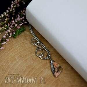 zakładka do księzki metalowa z agatem koronkowym, stal chirurgiczna, wire