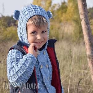 Sweter Niebieski Miś Merynos Dziecięcy, sweterek, dziecko, dziewczynka, chłopiec